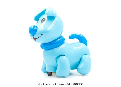 Blue Toy Robot Dog on Isolated White Background,side view