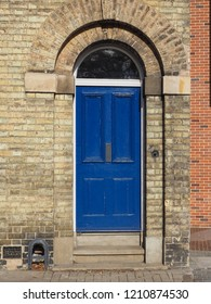 blue traditional entrance door of a British house