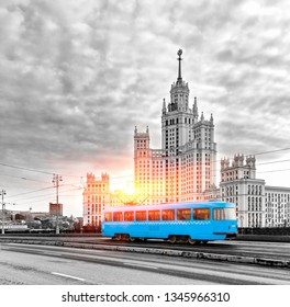 Blue Tram in the City Center of Moscow At Sunrise, Old Blue Tram in Moscow, Russia - Toned In Black And White