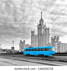 Blue Tram in the City Center of Moscow Old Blue Tram in Moscow, Russia - Toned In Black And White