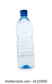 blue transparent bottle isolated on white