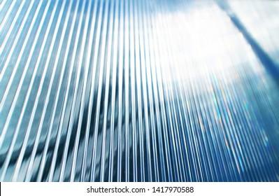 Blue transparent polycarbonate texture. Modern perspective lines plastic glass backdrop.