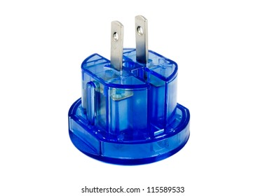 Blue transparent universal electricity adapter for american outlets