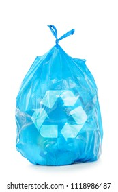 blue trash bag with recycling logo isolated on white