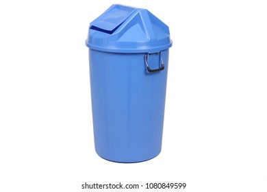Blue trash can (garbage bins) isolate on white background.