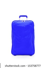 blue travel bag isolated on white background