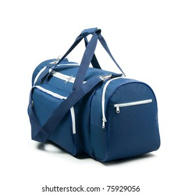 Blue travel bag on a white background