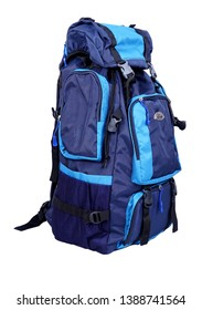 blue travel bags on white backgraound