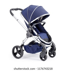 Blue Travel System Isolated on White Background. Side View of Stroller. Pushchair with Canopy and Swivel Front Wheels. Infant Carriage Seat. Baby Transport or Pram with Adjustable Showerproof Hood