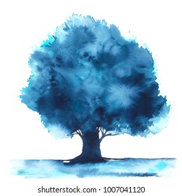Blue tree painted with watercolor
