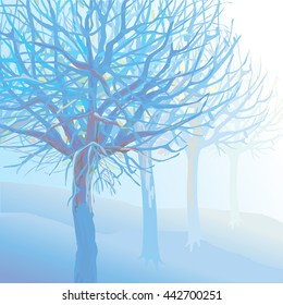 Blue Trees in Fog Illustration