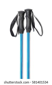 blue trekking or ski poles isolated with shadow