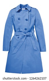 Blue trench coat isolated