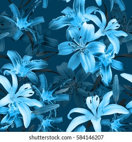 Blue trendy floral pattern blossom flowers lilies seamless background. Amazing monochrome floral photo collage for artistic design.