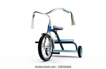 blue tricycle isolated on white background
