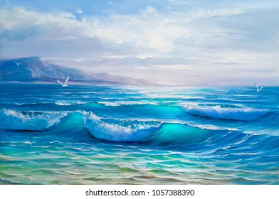 Blue, tropical sea and beach.Sketch of the painting.