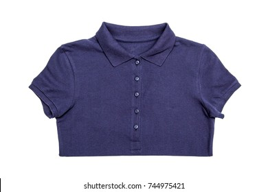 Blue t-shirt with collar isolated on white