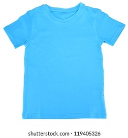 Blue t-shirt isolated on white
