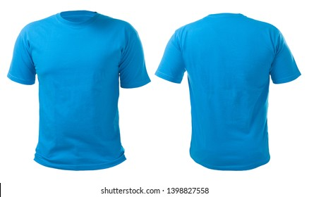 Blue t-shirt mock up, front view, isolated on white. Plain blue shirt mockup. Tshirt design template. Blank tee for print