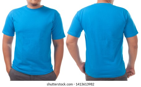 Blue t-shirt mock up, front and back view, isolated on white. Male model wear plain blue shirt mockup. Tshirt design template. Blank tee for print