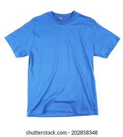 Blue tshirt template ready for your own graphics on white background.