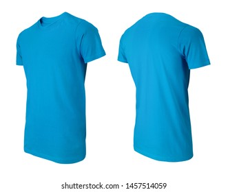 Blue T-shirts front and perspective view isolated on white