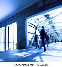 Blue tunnel, people mooving