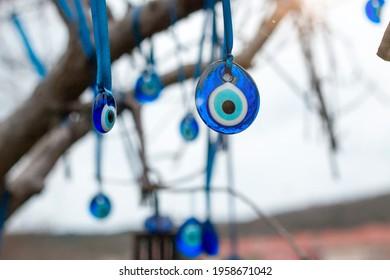 Blue Turkish evil eye hanging on the tree banch. Symbol of protection in Turkey. Nazar bead. Turkish Fatima's eye.