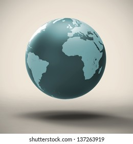 Blue turkish planet earth floating in mid air on a subtle yellow background