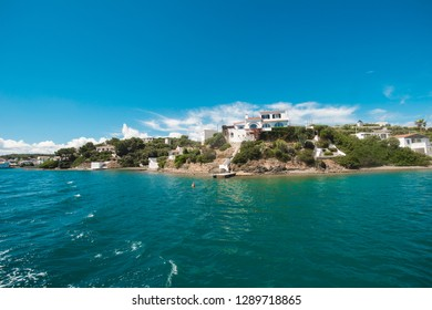 blue turquoise clear sea water in minorca island, Balearic Islands, view of nice landscape, view from ship