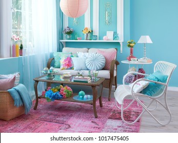 blue and turquoise details modern room and home corner decoration