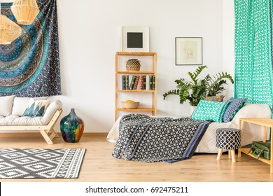 Blue and turquoise flat in oriental style with camel artwork