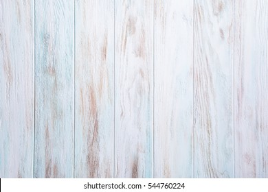 Blue, turquoise, white old wooden plank background. Vertical stripes
