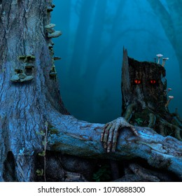 Blue twilight, stump red eyes. Mysterious fairytale landscape with old tree, stalking stump, thick root.
