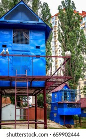 Blue Ukrainian dovecote in Kiev in summer