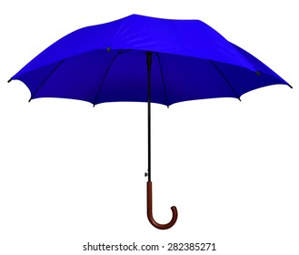 Blue umbrella isolated on white background. Clipping path included.