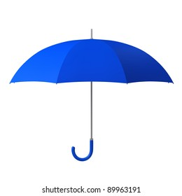 blue umbrella isolated on white background