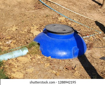 Blue underground waste water tank: Waste water from households or various establishments will pass through PVC pipes into the waste water tank for treatment before releasing water, sewage pond