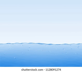 Blue underwater illustration with bubbles. Space for the text.