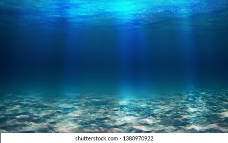 Blue underwater world, very blonde color, lots of sand, bright light at the bottom with sand