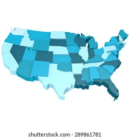 Blue USA map image with hi-res rendered artwork that could be used for any graphic design.