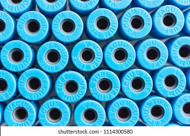 blue vacuum blood collection tubes