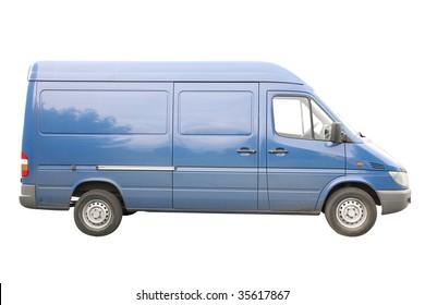 Blue van under the white background