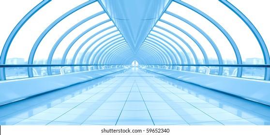 blue vanishing hall airport interior