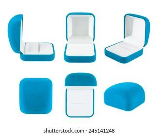 Blue velvet box for the ring, isolated over the white background, set of six foreshortenings