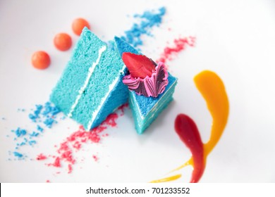 Blue velvet cake on white background