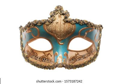 Blue venetian theatre mask with musical notes and gold decorations isolated on white background