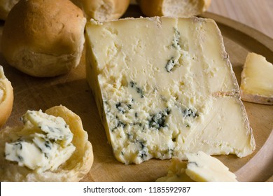 Blue Vinny a traditional cheese made in Sturminster Newton in Dorset, England, from unpasteurised skimmed milk. Served with Dorset Knobs a triple baked bread roll from the same county