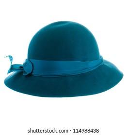 Blue vintage hat isolated on white background.