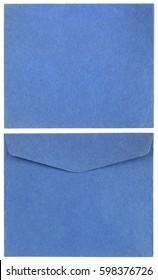 Blue vintage mail envelope mail both sides
